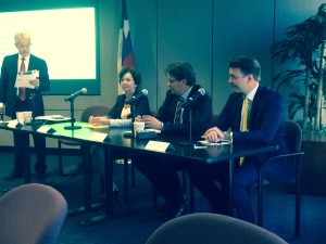 Astrid Marklund, Jonas Dahlstrom and Patrik Svahn in the Panel discussions at GHP (Greater Houston Partnership)